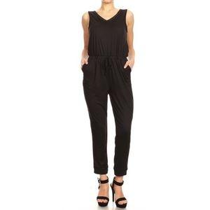 Pants - Black Sleeveless Jumpsuit